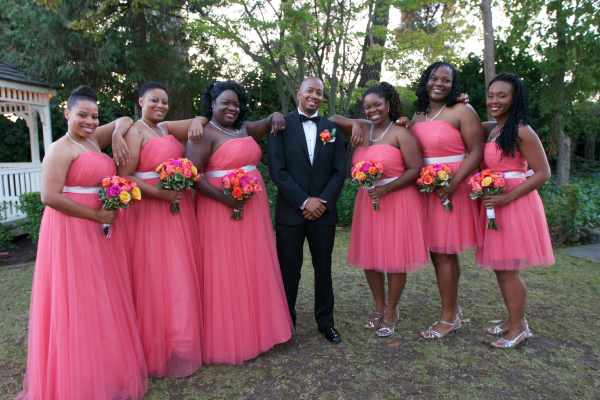 wedding, Mama Knows It All, bridesmaids and groom