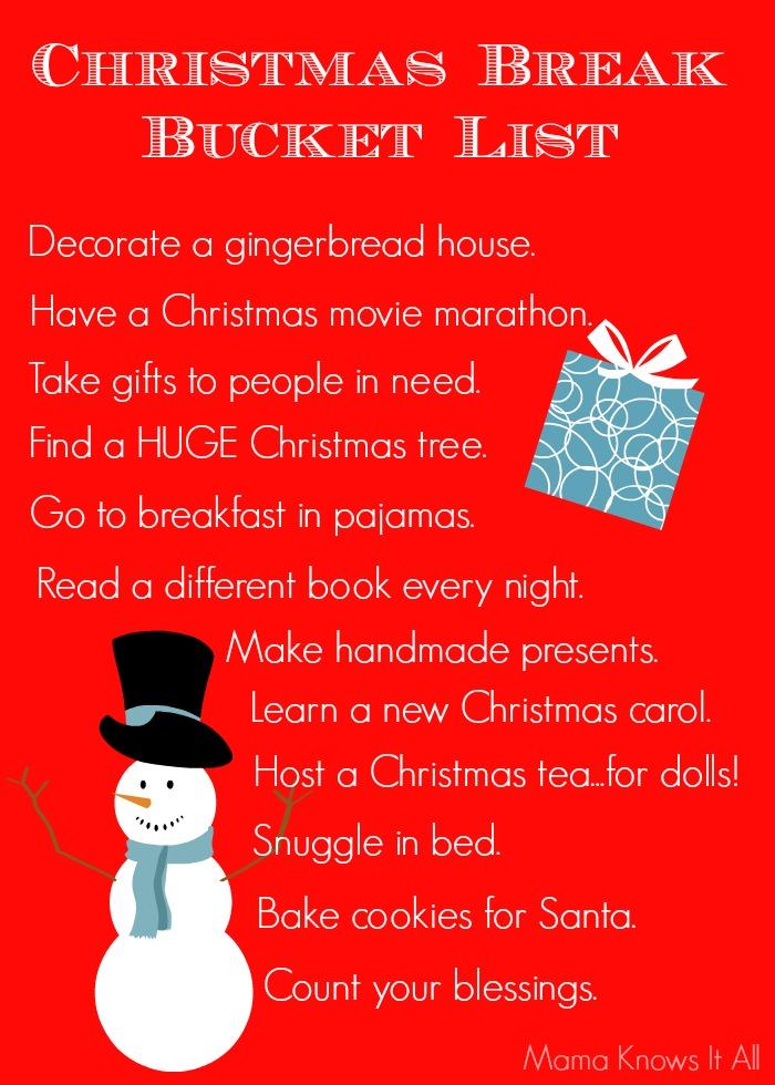 Christmas Break Bucket List
